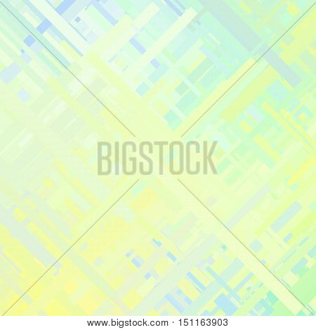 Pastel green glitch background, distortion effect, abstract texture, random trend color diagonal lines for design concepts, posters, presentations and prints. Vector illustration.