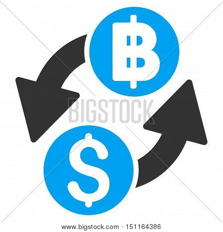 Dollar Baht Exchange icon. Glyph style is bicolor flat iconic symbol with rounded angles blue and gray colors white background.