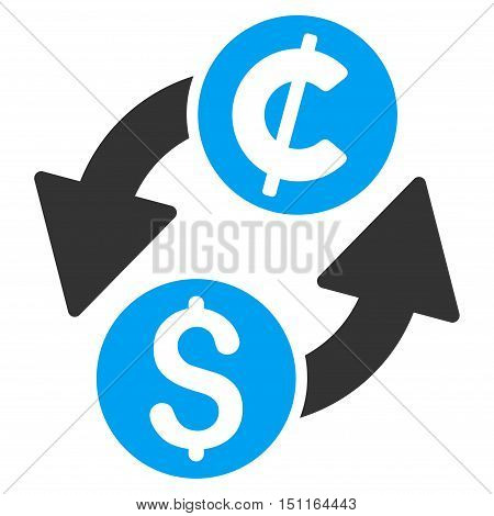 Dollar Cent Exchange icon. Glyph style is bicolor flat iconic symbol with rounded angles blue and gray colors white background.