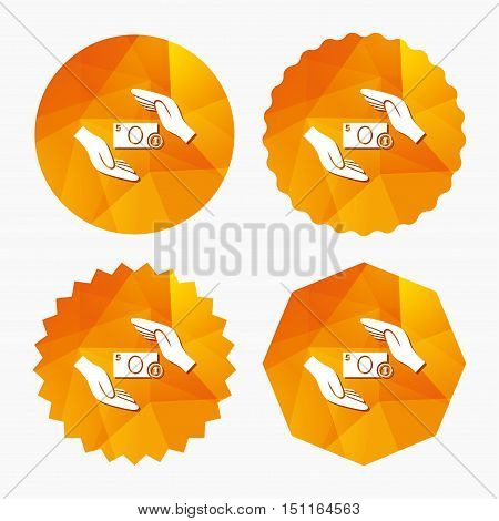 Protection paper money sign icon. Hands protect cash symbol. Money or savings insurance. Triangular low poly buttons with flat icon. Vector