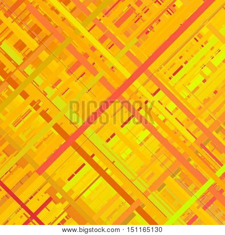 Pastel orange glitch background, distortion effect, abstract texture, random trend color diagonal lines for design concepts, posters, presentations and prints. Vector illustration.