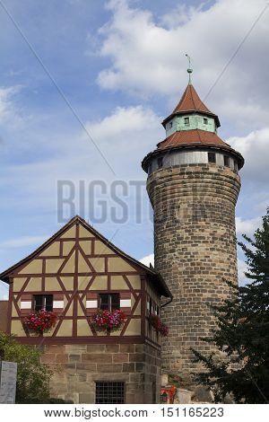 Nuremberg, Germany - Aug 23, 2016: Kaiserburg, Medieval Castle In Nuremberg, Germany. View Of The Si