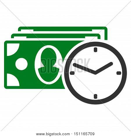 Cash Credit icon. Glyph style is bicolor flat iconic symbol with rounded angles, green and gray colors, white background.