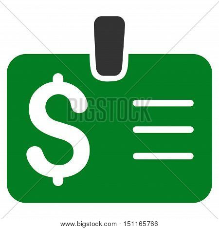 Dollar Badge icon. Glyph style is bicolor flat iconic symbol with rounded angles green and gray colors white background.
