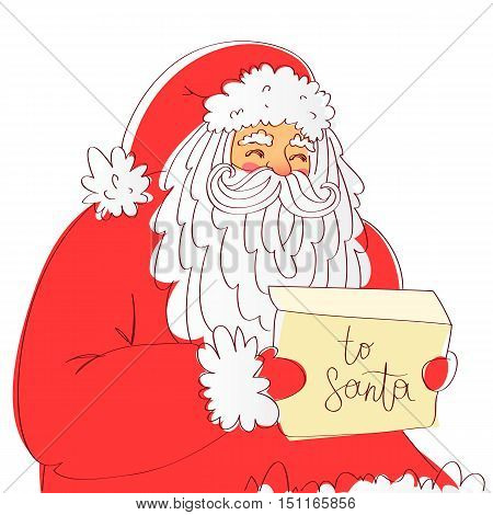 Santa Claus reads the letter. Excellent New Year's gift card. Vector illustration on white background.
