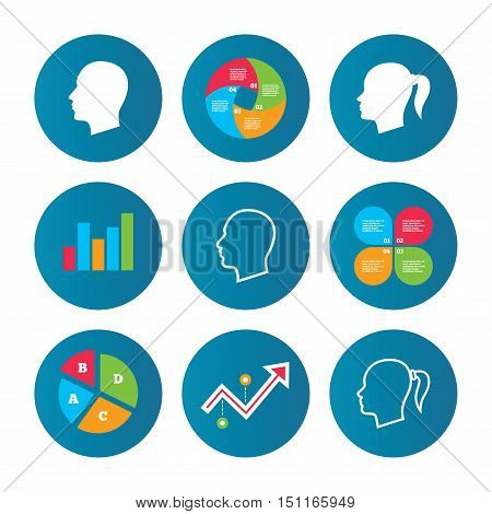 Business pie chart. Growth curve. Presentation buttons. Head icons. Male and female human symbols. Woman with pigtail signs. Data analysis. Vector