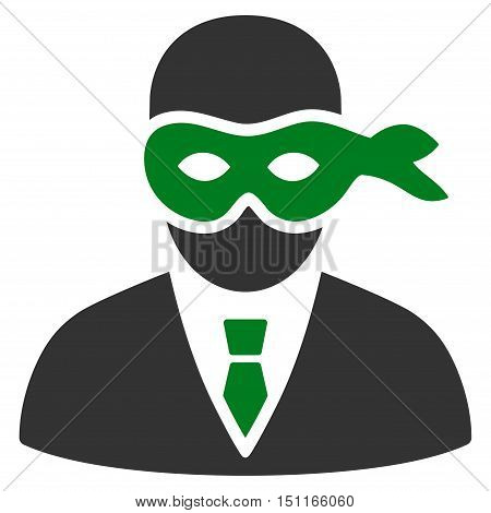Masked Thief icon. Glyph style is bicolor flat iconic symbol with rounded angles, green and gray colors, white background.
