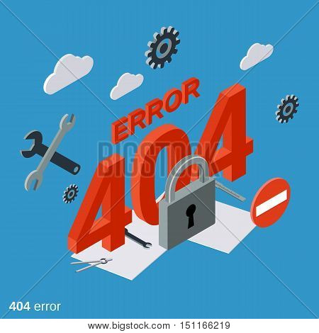404 error page flat isometric vector concept illustration