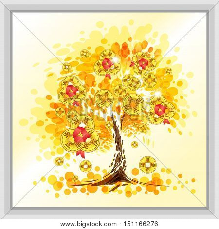 Tree with gold coins for wealth and success, vector illustration