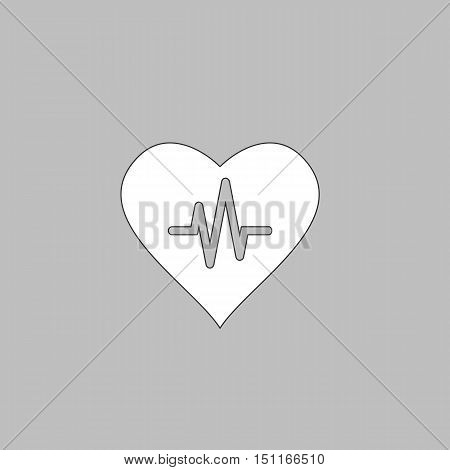 Life line Simple line vector button. Thin line illustration icon. White outline symbol on grey background