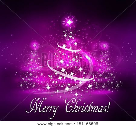 Vector abstract dark bokeh fuzzy background with thee Christmas trees