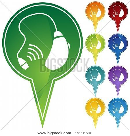 hearing aid icon pin