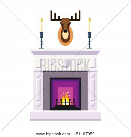 Fireplace with deer heard, candle. Fire warm, Cozy Home interior - flat vector illustration.