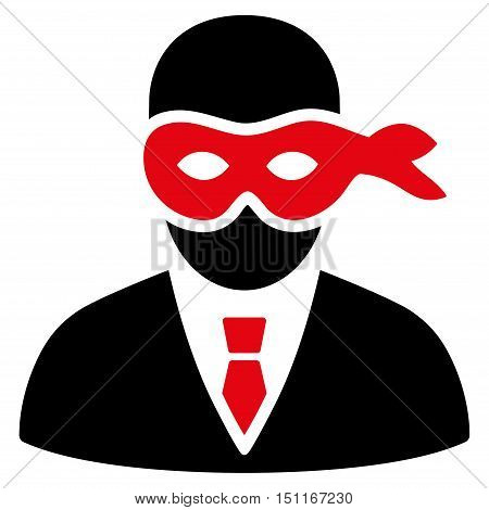 Masked Thief icon. Glyph style is bicolor flat iconic symbol with rounded angles intensive red and black colors white background.
