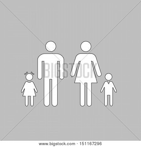 Family Simple line vector button. Thin line illustration icon. White outline symbol on grey background
