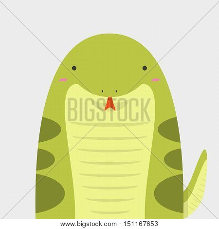 cute big fat snake on light gray background