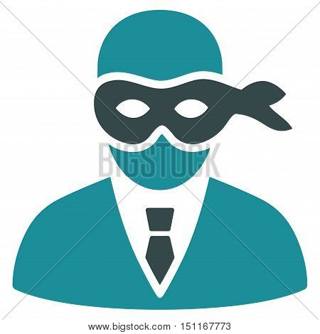 Masked Thief icon. Glyph style is bicolor flat iconic symbol with rounded angles soft blue colors white background.