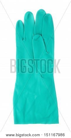 Rubber kitchen latex green glove over white isolated background