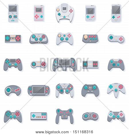 Game icons. Flat style vector illustration. Collection of gaming devices and joysticks