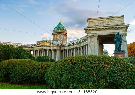 Kazan Cathedral in Saint Petersburg Russia and monument to Michael Andreas Barclay de Tolly - Russian Field Marshal and Minister of War during Napoleon's invasion in 1812