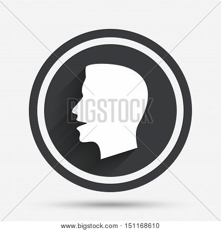 Talk or speak icon. Loud noise symbol. Human talking sign. Circle flat button with shadow and border. Vector