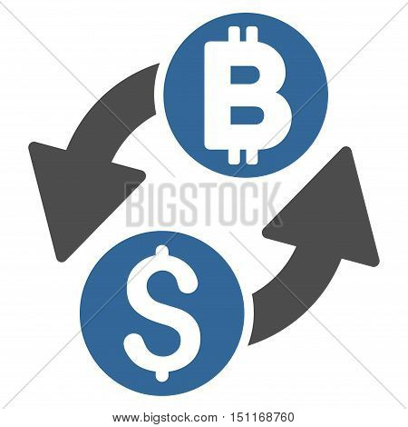 Dollar Bitcoin Exchange icon. Glyph style is bicolor flat iconic symbol with rounded angles, cobalt and gray colors, white background.