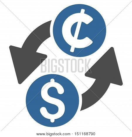Dollar Cent Exchange icon. Glyph style is bicolor flat iconic symbol with rounded angles, cobalt and gray colors, white background.
