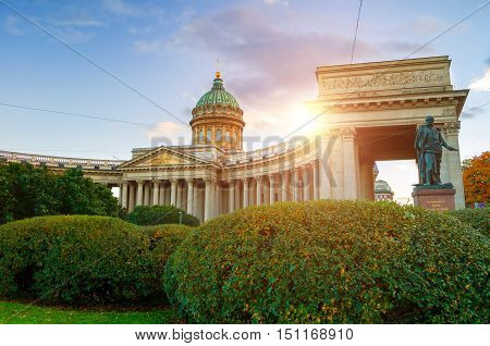 Kazan Cathedral in Saint Petersburg Russia and monument to Michael Barclay de Tolly - Russian Field Marshal and Minister of War during Napoleon's invasion in 1812