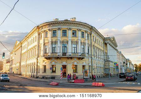 SAINT PETERSBURG RUSSIA - OCTOBER 3 2016. Adamini House built in Saint Petersburg Russia- one of the most important buildings of Domenico Adamini Russian engineer and architect of Swiss origin