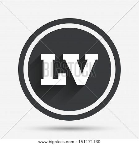 Latvian language sign icon. LV Latvia translation symbol. Circle flat button with shadow and border. Vector