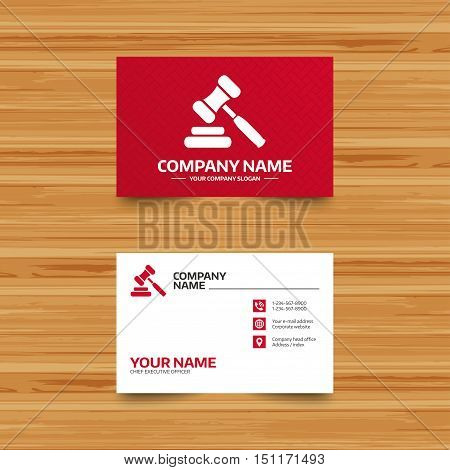 Business card template. Auction hammer icon. Law judge gavel symbol. Phone, globe and pointer icons. Visiting card design. Vector
