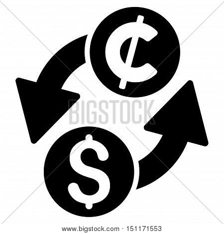 Dollar Cent Exchange icon. Glyph style is flat iconic symbol with rounded angles, black color, white background.