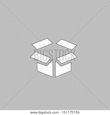 Open box Simple line vector button. Thin line illustration icon. White outline symbol on grey background