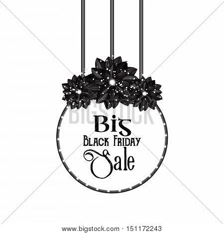 Big Black Friday Sale. Elegant floral element in a gothic style. Vintage design. Three flowers. Beautiful dahlias. Banner. Round frame. Vector illustration eps10.