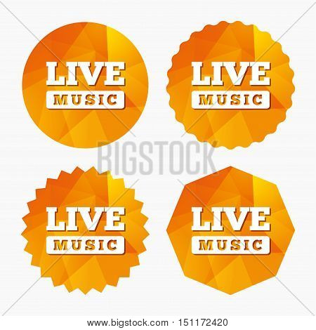 Live music sign icon. Karaoke symbol. Triangular low poly buttons with flat icon. Vector