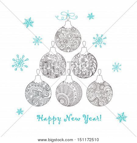 Festive card with Christmas balls decorated hand drawn doodle tangled flowers and snowflake isolated on the white and text Happy New Year. Image can be used for adult coloring book. eps 10