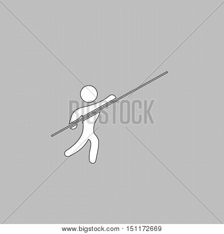 Pole vault Simple line vector button. Thin line illustration icon. White outline symbol on grey background