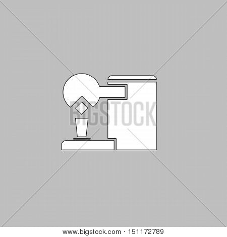 Coffee Maker Simple line vector button. Thin line illustration icon. White outline symbol on grey background