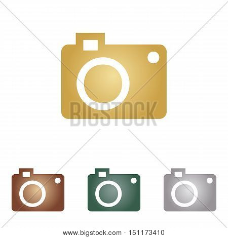 Digital Camera Sign. Metal Icons On White Backgound.