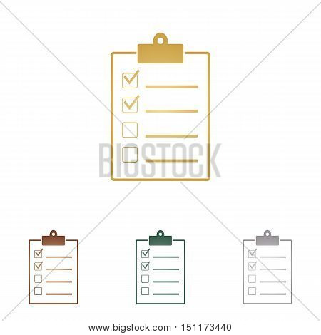 Checklist Sign Illustration. Metal Icons On White Backgound.
