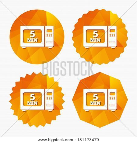 Cook in microwave oven sign icon. Heat 5 minutes. Kitchen electric stove symbol. Triangular low poly buttons with flat icon. Vector
