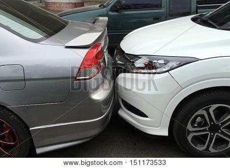 The scene of a car crash car accident.