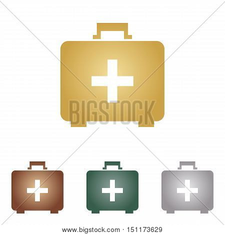 Medical First Aid Box Sign. Metal Icons On White Backgound.