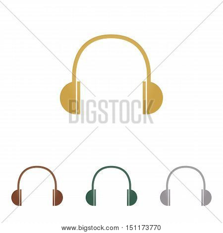 Headphones Sign Illustration. Metal Icons On White Backgound.