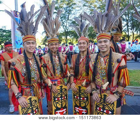 Kota Kinabalu,Sabah-Aug 31,2016:Multi ethnic with traditional wear during Malaysian National day,celebrating the of independence on 31st Aug 2016 at Kota Kinabalu,Sabah,Borneo.