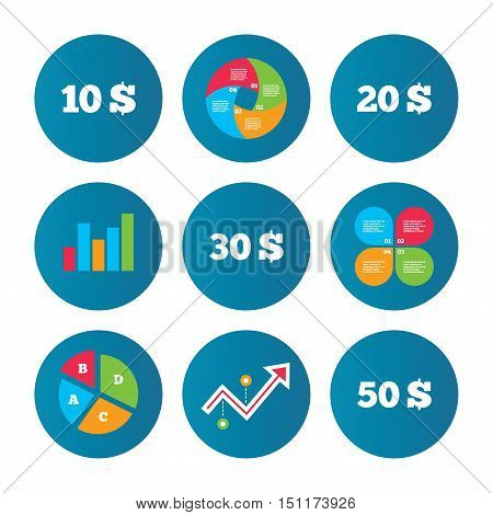 Business pie chart. Growth curve. Presentation buttons. Money in Dollars icons. 10, 20, 30 and 50 USD symbols. Money signs Data analysis. Vector