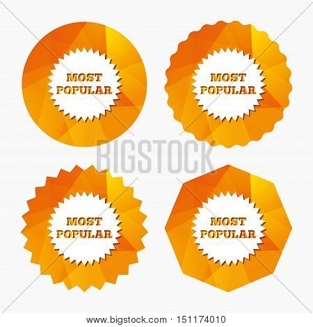 Most popular sign icon. Bestseller symbol. Triangular low poly buttons with flat icon. Vector