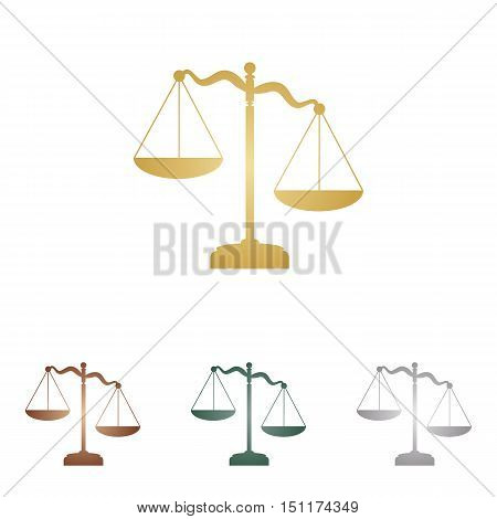 Scales Of Justice Sign. Metal Icons On White Backgound.