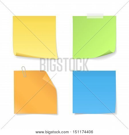 Set of colored sticky notes with clip and adhesive tape. Vector paper (yellow, orange, blue, green) with curled corner for your message. Isolated from a background.