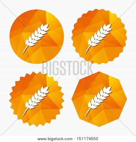 Gluten free sign icon. No gluten symbol. Triangular low poly buttons with flat icon. Vector